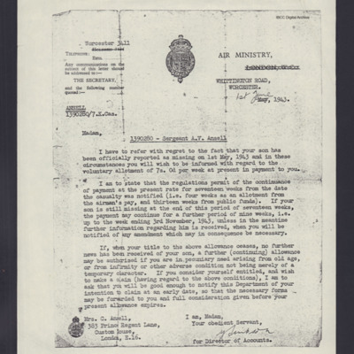 Letter from Air Ministry to Mrs C Ansell
