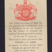 Notification of award to Albert Victor Ansell