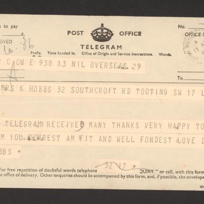 Telegram from Frank Hobbs to Mrs K Hobbs