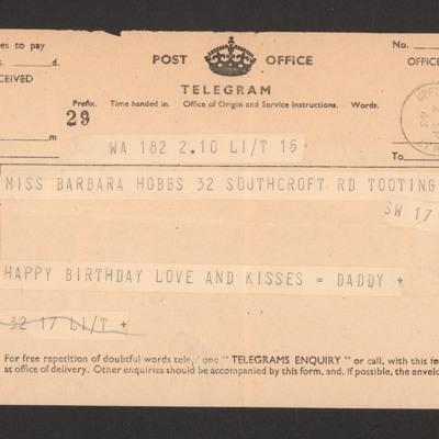 Telegram from Frank Hobbs to daughter Barbara