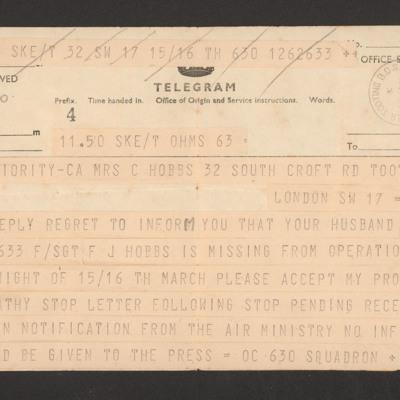 Telegram from officer commanding 630 Squadron to Mrs Hobbs