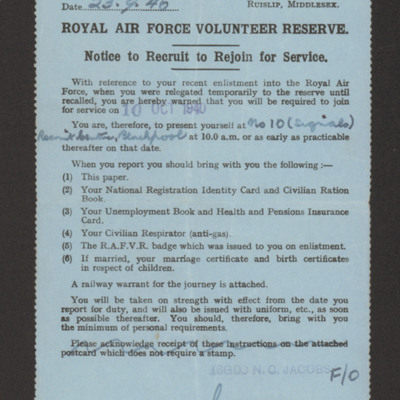 Frank Hobbs, Royal Air Force Volunteer Reserve notice to recruit or rejoin for service