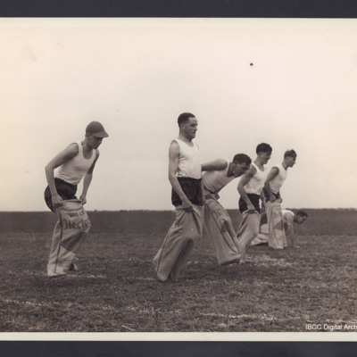 Six competitors in sack race