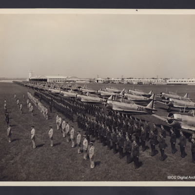 Parade in front of Harvard aircraft<br /><br /> <br /><br />