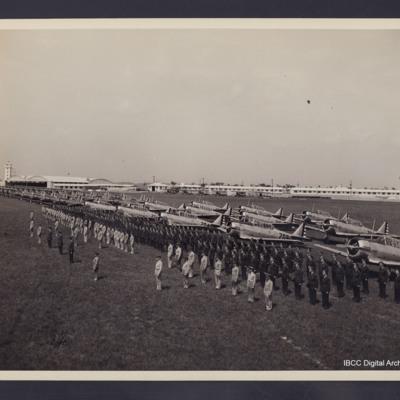 Parade in front of Harvard aircraft