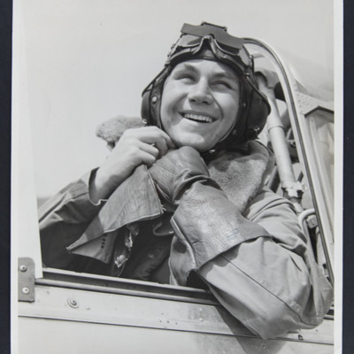 Pilot in cockpit of a Harvard