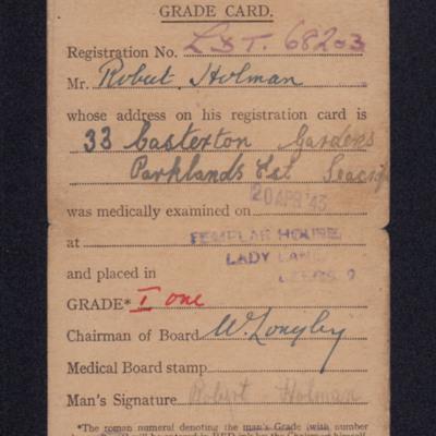 Robert Holman national service grade card