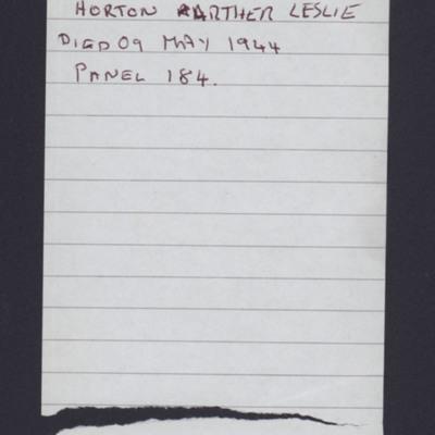 Horton Arther Leslie