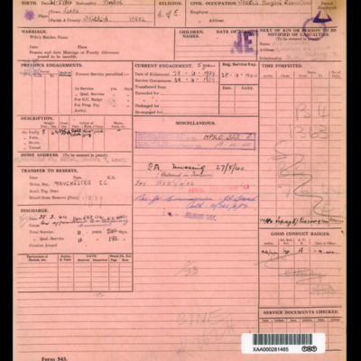 Douglas Hudson Royal Air Force personnel document