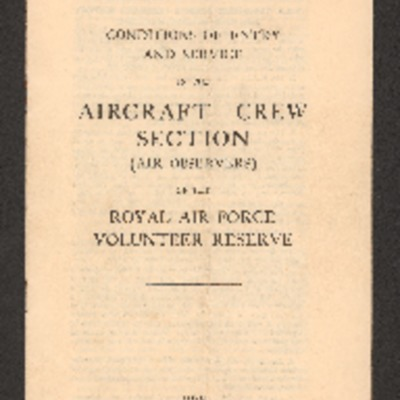 Conditions of entry and service in the aircraft crew selection (air observers)