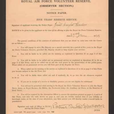 Royal Air Force Volunteer Reserve (Observer Section) Notice Paper