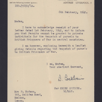 Letter to Mrs Hudson from Postal and Telegraph Censorship Department