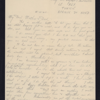 Letter from Douglas Hudson to his parents