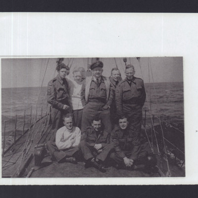 Eight RAF personnel on a boat