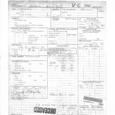 Norman Jackson's Service Record