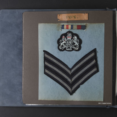 Kenneth Pope's medal ribbons and rank badges