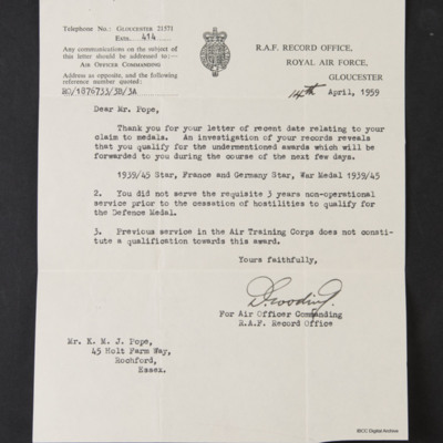 Letter from the Royal Air Force Record Office to Kenneth Pope