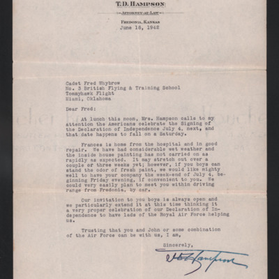Letter to Fred Whybrow from TD Hampson