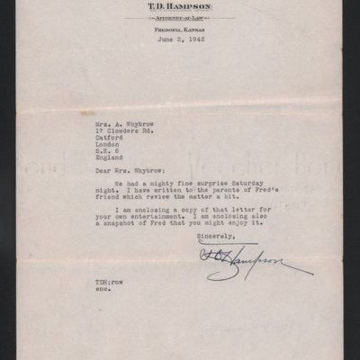 Letter to Mrs A Whybrow from TD Hampson