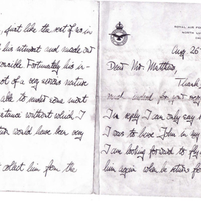 Letter to Mr Mathews from Peter Stevens