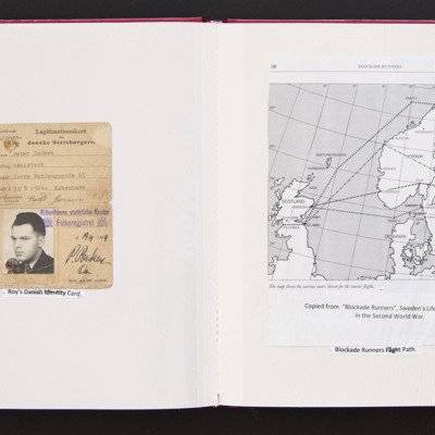 Roy Maddock-Lyon's Danish Identity Card and a map of Blockade Runners Flight Path